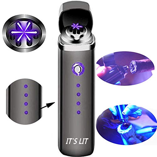 Triple Plasma Lighter- Electric Triple Arc Lighter- 2019 Design with Indicator Lights for Pipes Cigars and More -Windproof Electric Lighter- Rechargeable (Triple Arc W/Battery Indicator Lights)