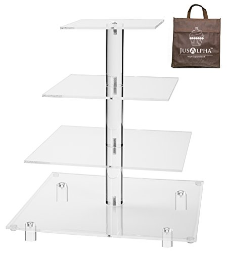 Jusalpha 4 Tier Square Acrylic Cupcake Tower Stand-Cake Stand-Dessert Stand-Cupcake holder-Pastry serving platter-Cupcake Tower for Wedding-Party Supply(4 Tier With Rod Feet) (4SF-V2)