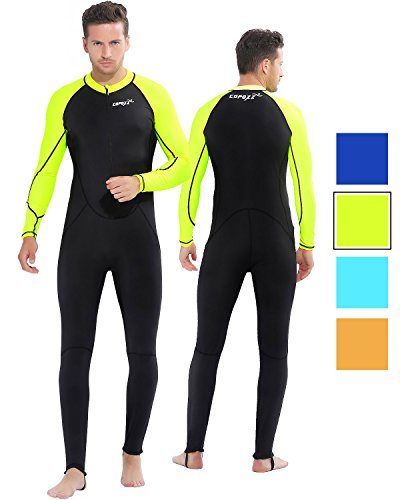 COPOZZ Diving Skin, Men Women Youth Thin Wetsuit Rash Guard- Full Body UV Protection - for Diving Snorkeling Surfing Spearfishing Sport Skin (Black/Green, XX-Large for Men)
