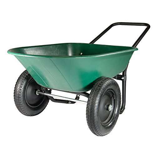 Marathon Yard Rover – 2 Tire Wheelbarrow Garden Cart - Green/Black