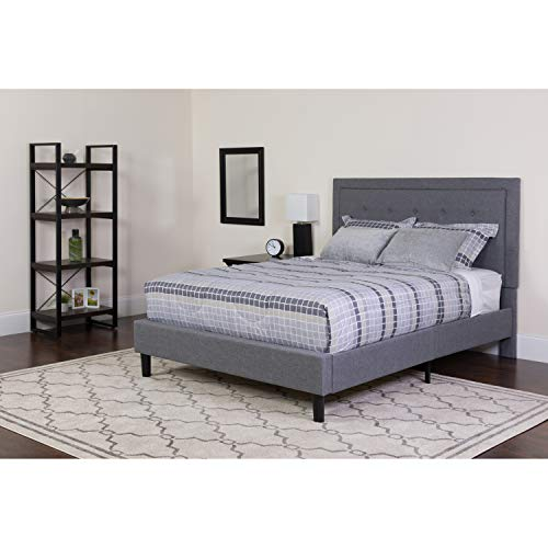 Flash Furniture Roxbury Queen Size Tufted Upholstered Platform Bed in Light Gray Fabric -