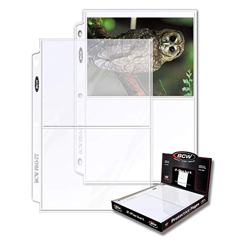 BCW 2-Pocket Clear Protective Pages, Pocket Dimension 7-1/8' x 5-1/2' (50-Count)