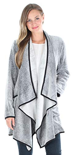 Sleepyheads Pajama Women's Fleece Long Sleeve Wrap Robe Cardigan with Pockets, Wrap- Charcoal, L/XL