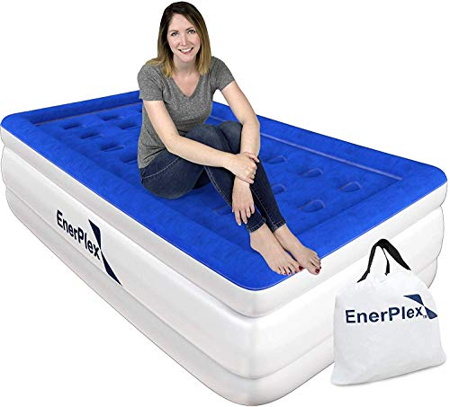 EnerPlex 1-Minute Pump Luxury Twin Air Mattress Twin Size Tall Airbed with Built in Pump Raised Double High Inflatable Blow Up Bed for Home Camping 2-Year Warranty