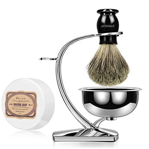 ACRIMAX Luxury Shaving Kit for Men, Badger Shaving Brush Set with Shave Soap, Durable Stainless Steel Shaving Razor Brush Stand and Soap Bowl Set for Gentleman Safety Razor