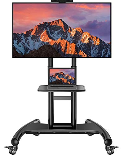 Rolling/Mobile TV Cart with Wheels for 32-70 Inch LCD LED 4K Flat Screen TVs - UL Certificated TV Floor Stand with Shelf Holds Up to 100 lbs, Height Adjustable Trolley Max VESA 600x400mm