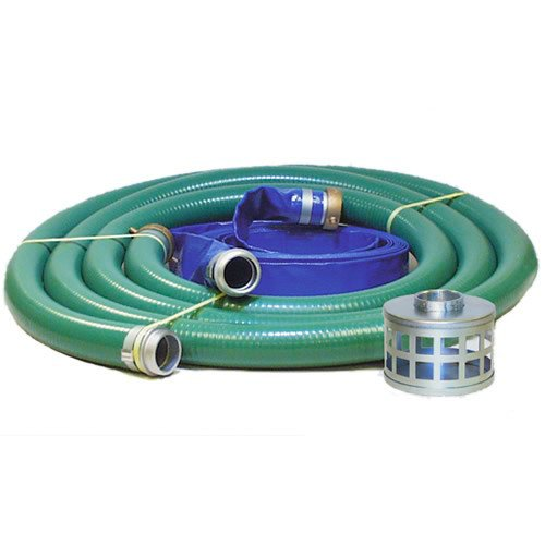 JGB Enterprises Eagle Hose PVC/Aluminum Water/Trash Pump Hose Kit, 2' Green Suction Hose Coupled M x F WS, 2' Blue Discharge Hose Coupled M x F WS, 29 Vacuum Rating, 80 PSI Maximum Temperature, 25' Length, 2 ID