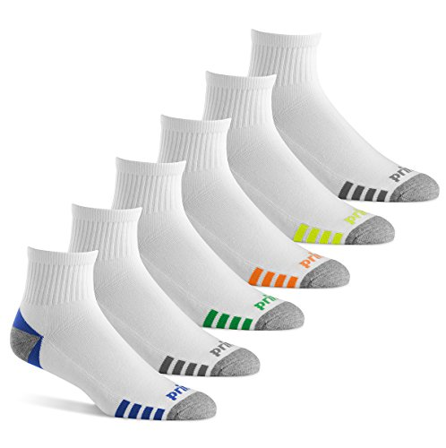 Prince Men's Athletic Quarter Socks (6 Pair Pack) (White)