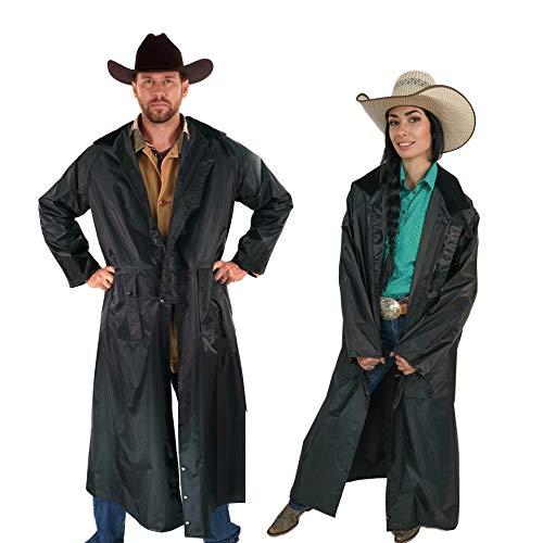 Southwestern Equine American Cowboy Saddle Slicker Rain Coat Duster  100% Waterproof Full Length Unisex (Black, XX-Large)