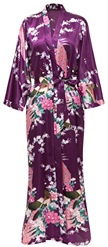 Kimono Robe Long Satin Peacock & Floral Print Bathrobe Sleepwear Bridesmaid Gift Dark Purple
