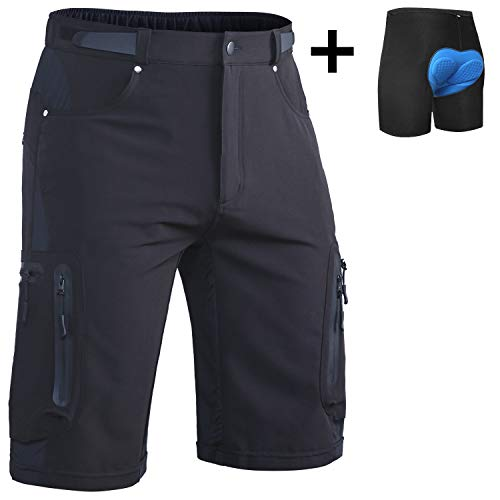 Ally Mens MTB Mountain Bike Short Bicycle Cycling Biking Riding Shorts Cycle Wear Relaxed Loose-fit (2XL(Waist:34.5'-36', Hip:40.5'-42.5'))