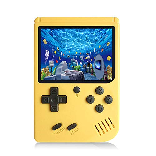 JAFATOY Retro Handheld Games Console for Kids/Adults, 168 Classic Games 8 Bit Games 3 inch Screen Video Games with AV Cable Play on TV (Yellow)
