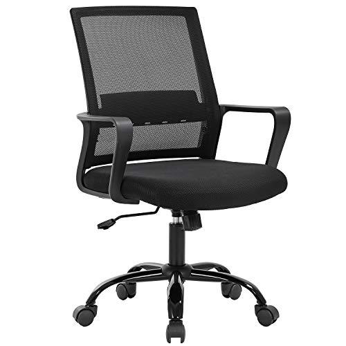 Home Office Chair Ergonomic Desk Chair Swivel Rolling Computer Chair Executive Lumbar Support Task Mesh Chair Adjustable Stool for Women Men (Black)