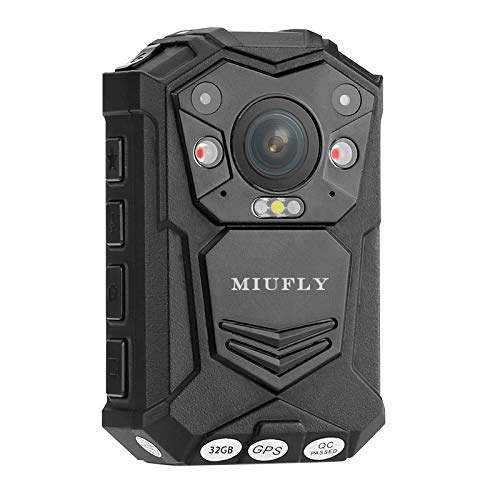 MIUFLY 1296P HD Waterproof Police Body Camera with 2 Inch Display, Night Vision, Built in 32G Memory and GPS
