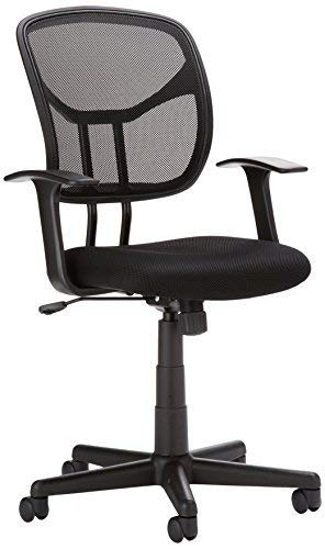 AmazonBasics Mesh, Mid-Back, Adjustable, Swivel Office Desk Chair with Armrests, Black