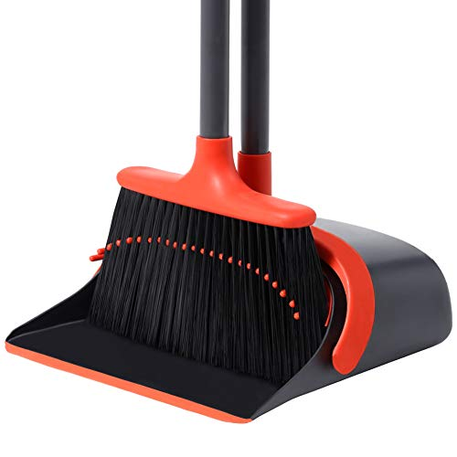 Long Handle Broom and Dustpan Set/Dust Pan and Broom Set Standing Upright Dustpan Broom Combo for Office Home Kitchen Lobby Floor Use