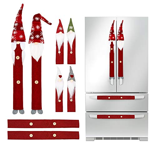 Christmas Decorations Gnomes Refrigerator Handle Covers Set of 8PCS, Christmas Kitchen Decor Appliance Handle Covers-Microwave Oven Dishwasher Fridge Door Handle Covers for Christmas Holiday Decor