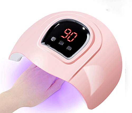 54W Gel UV LED Nail Lamp,Prottylife Nail Dryer Gel Nail Polish LED UV Light with 3 Timers Professional Nail Art Tools Accessories (Pink)