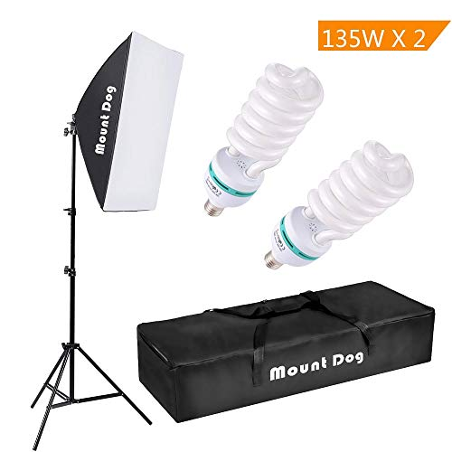 MOUNTDOG 1350W Photography Continuous Softbox Lighting Kit 20'X28' Professional Photo Studio Equipment with 2pcs 135W E27 Socket 5500K Video Lighting Bulb for Filming Portraits Shoot