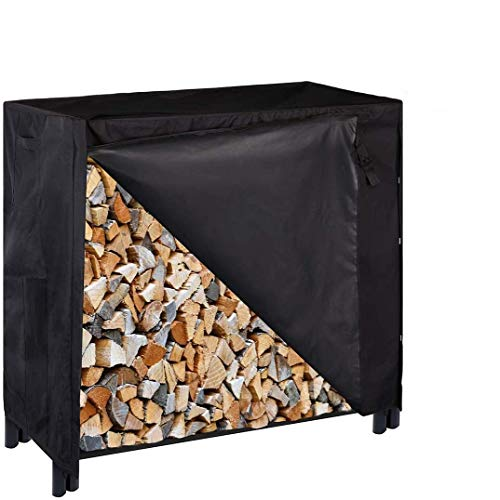 VIVOHOME 4ft Heavy Duty Indoor Outdoor Firewood Storage Log Rack with Cover Combo Set Black