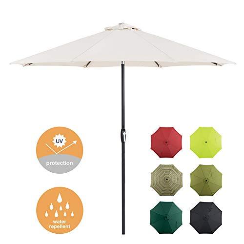 Tempera 9 Ft Patio Umbrella Outdoor Garden Table Umbrella with Push Button Tilt and Crank 8 Ribs, White/Cream