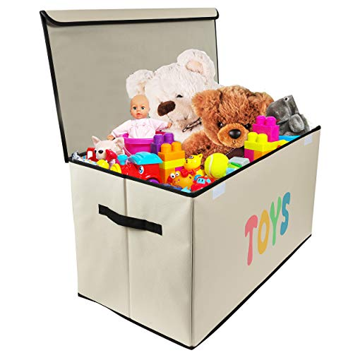 Woffit Toy Storage Organizer Chest for Kids & Living Room, Nursery, Playroom, Closet etc.  Extra Large Collapsible Toys Bin with Flip-top lid for Children & Dog Toys, Great Box for Boys and Girls