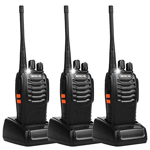 Retevis H-777 Walkie Talkies for Adults Emergency Flashlight UHF 16CH CTCSS/DCS Rechargeable Two Way Radio with USB Charger (3 Pack)