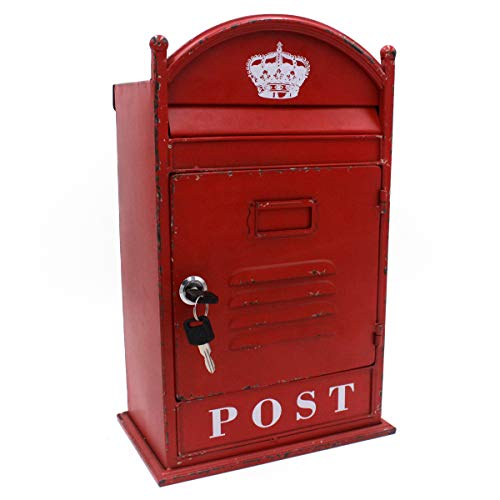 Funerom Vintage Wall Mounted Post Box Metal Mailbox with Secure Lock and 2 Keys, 9 x 5.5 x 14.6 Inches, Rustic Red