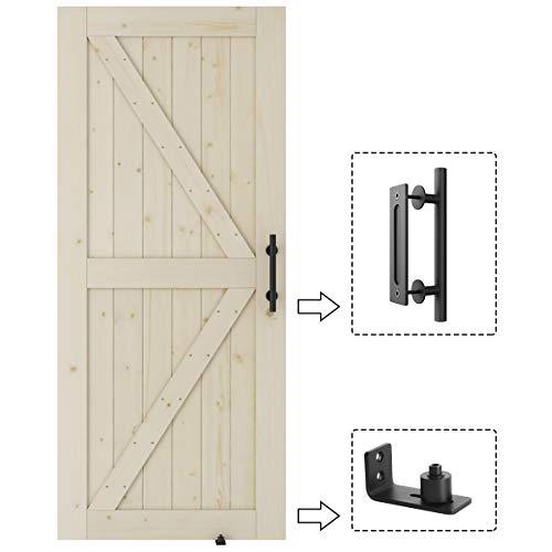 SmartStandard 36in x 84in 2-Panel Interior Sliding Barn Wood Door & Barn Door Handle Set & Floor Guide, Pre-Drilled Ready to Assemble, Natural Solid Unfinished Wooden Slab, K-Frame(Fit 6FT-6.6FT Rail)