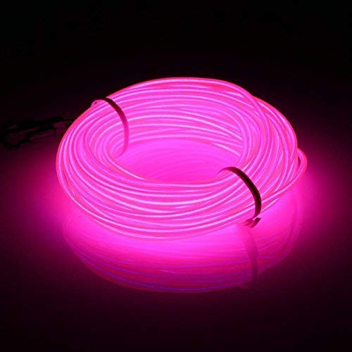 16.4ft/5m EL Wires Neon Light Tube Illumination Battery Powered High Brightness Electroluminescence Wire Pack Drivers with 3 Modes Multi Colors EL Wire for Party Wedding Decoration pub (pink)