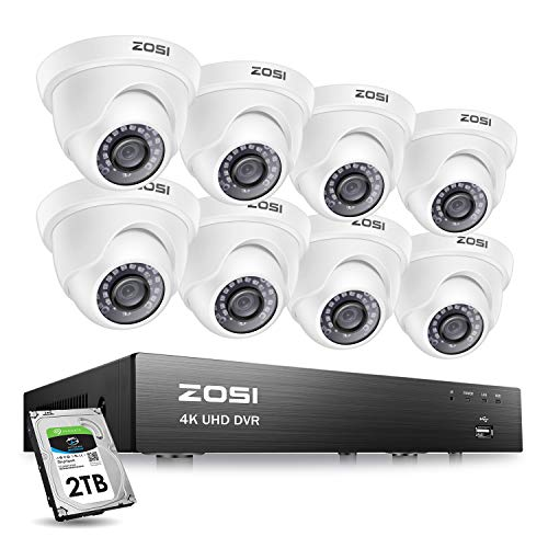 ZOSI 8CH 4K Ultra HD Security Cameras System Outdoor with 2TB Hard Drive , 8Channel H.265+ 4K Video DVR Recorder, 8pcs 4K (8MP) Surveillance Weatherproof Dome CCTV Cameras, 150ft Long Night Vision