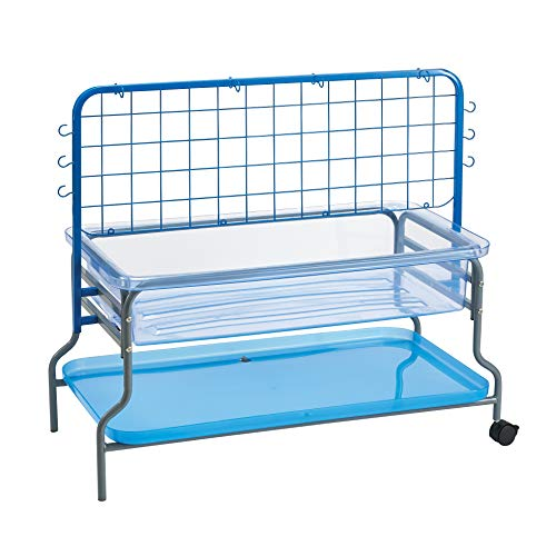 Edx Education Super Sand and Water Tray Set - 23' High - Sand and Water Table - Includes Tray, Cover, Shelf and Storage Frame, Blue/Clear