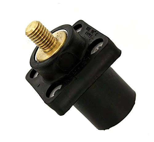 Leviton 16R23-UE 16-Series Taper Nose, Male, Panel Receptacle, 90-Degree, Threaded Stud, Cam-Type Connector, Black