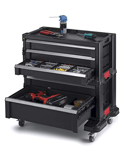 Keter Modular Locking and Rolling Tool Chest with Wheels and Drawers with 16 Removable Bins and Dividers for Customization
