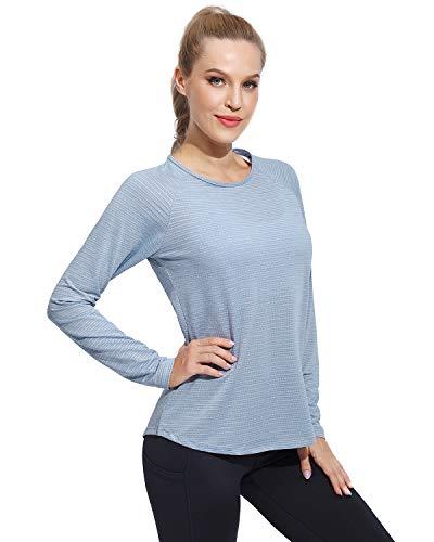 G4Free Long Sleeve T Shirts for Women Fall Tops Tee Shirt Moisture Wicking Shirts Yoga Workout Running Tops Shirt Quick Dry Casual Activewear (Light Blue, S)