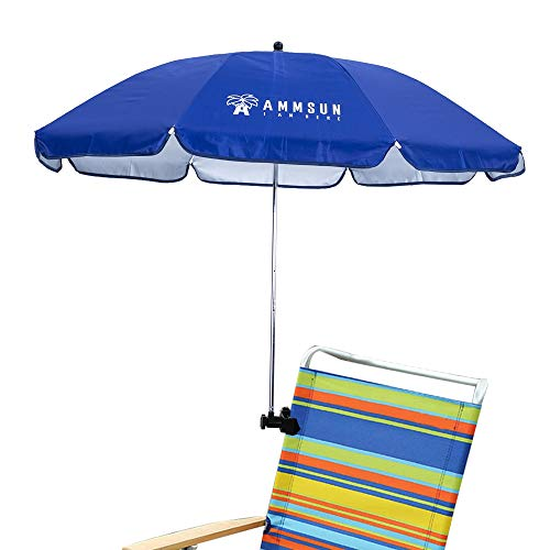 AMMSUN Chair Umbrella with Adjustable Clamp 43 inches UPF 50+, Great for Patio Chairs, Beach Chairs, Strollers, Wheelchairs, and Golf Carts (Blue)