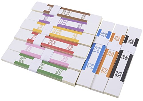 300 Assorted Money Bands, Self Adhesive Currency Straps, ABA Standard Colors Bills Wrappers to Organize Cash, 7.75 x 1.25 Inches