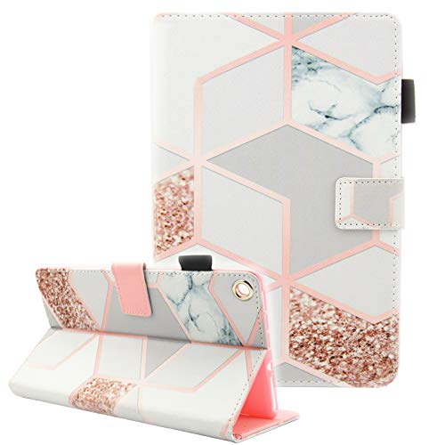 Fvimi All-New HD 8 Case, Slim Fit Folio Stand Leather Cute Design Smart Cover with Auto Wake/Sleep Function for HD 8 8th Generation 2018 / 7th Generation 2017 / 6th Generation 2016, Gird Marble