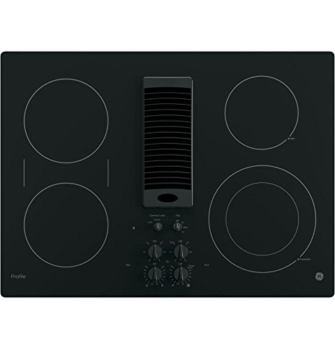 GE PP9830DJBB Profile Series Electric Cooktop with 4 Burners and 3-Speed Downdraft Exhaust System, 30', Black