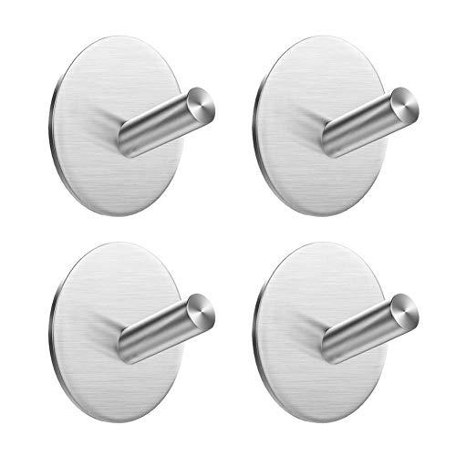 EMISK [4 Pack] Adhesive Towel Hooks, 304 Stainless Steel Robe Hook Hanger, Waterproof Wall Hooks Holder for Bathroom Kitchen and Bedroom