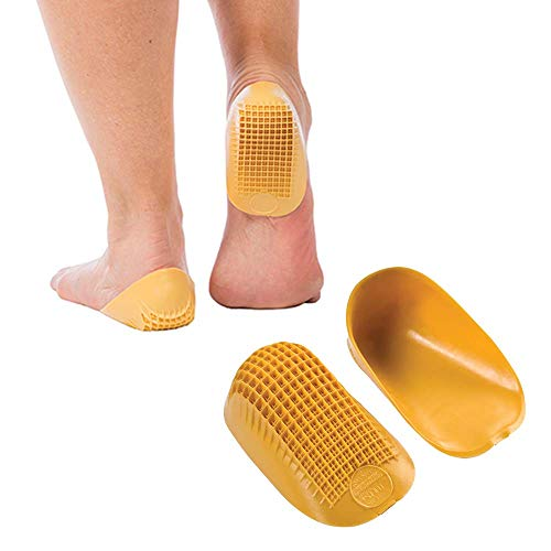 Tuli's Classic Heel Cups (2-Pairs), Shock Absorption and Cushion Inserts for Plantar Fasciitis and Heel Pain Relief, Yellow, Regular