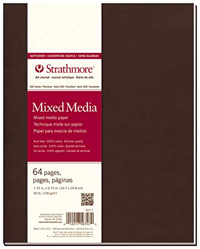 Strathmore 567-7-1 Softcover Mixed Media Art Journal, 7.75' x 9.75', White, 32 Sheets