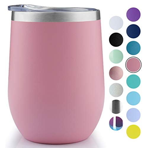MUCHENGHY 12 oz Stemless Wine Glass Tumbler with Lid Stainless Steel Double Wall Vacuum Insulated Travel Cup (Pink-1 pack)