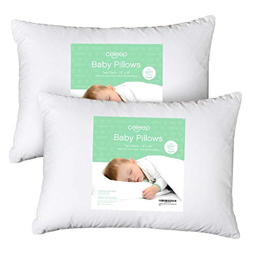 [2-Pack] Celeep Baby Toddler Pillow Set - 13 x 18 Inches Organic Toddler Bedding Small Pillow - Baby Pillow with 100% Natural Cotton Cover