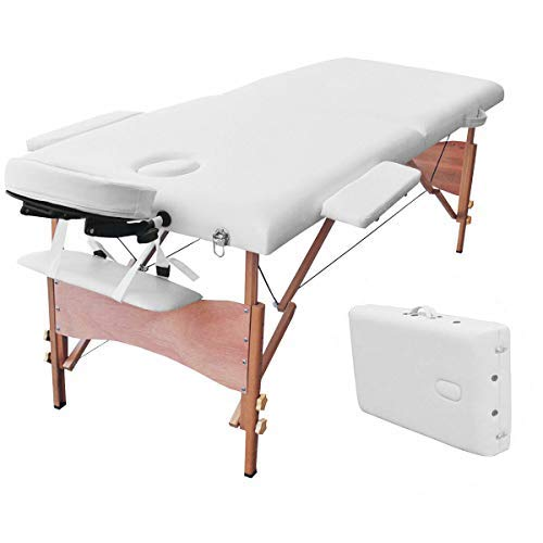 Giantex Massage Table Portable SPA Bed Facial Beauty, 84'L 2 Fold 34 Wide Face Cradle Arms Adjustable Wood Padded Comfortable Waterproof Oil Resistant, Massaging Tattoo Spa Beds w/Carry Case (White)