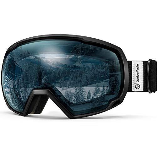 OutdoorMaster OTG Ski Goggles - Over Glasses Ski / Snowboard Goggles for Men, Women & Youth - 100% UV Protection (Black Frame + VLT 60% Light Blue Lens)