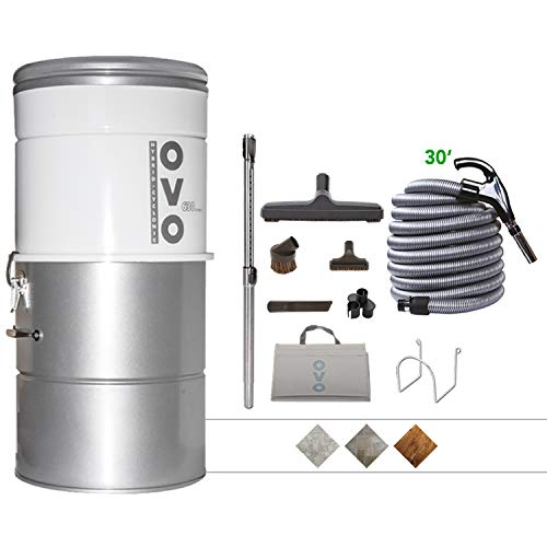 OVO Large and Powerful Central Vacuum System, Hybrid Filtration (With or Without disposable bags) 25L or 6.6 Gal, 630 Air watts and 30 ft Deluxe Accessory Kit included, 30ft/NA, sliver