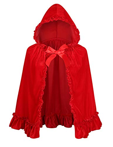 Colorful House Velvet Red Riding Hooded Cape Halloween Christmas Cloak(22'/56cm, Little red Riding Hood)
