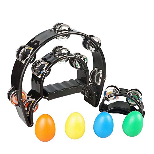 SUNYIN Double Row Tambourine,Metal Jingles Hand Held Percussion 9' Hand Tambourine and Foot Tambourine Percussion with Egg Shaker Musical Instrument