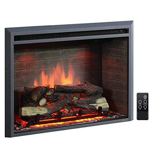 PuraFlame 30 Inches Western Electric Fireplace Insert with Fire Crackling Sound, Remote Control, 750/1500W, Black